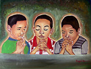 Child Jesus Paintings - Three Boys Praying by Rory Ivey
