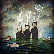 Digital Mixed Media - Three Brothers by Karen  Burns