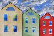 Decor Photography Digital Art Prints - Three Buildings And a Bird Print by Paul Wear