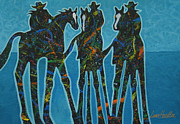 Abstract Dogs Paintings - Three By The Sea by Lance Headlee