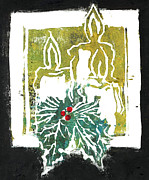 Relief Print Painting Prints - Three Candles and Holy Sprig Print by Ellen Miffitt