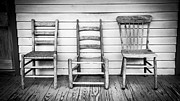 Wood Porch Posters - Three Chair Porch Poster by Perry Webster