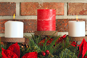 Candle Stand Prints - Three Christmas candles Print by Kenneth Sponsler