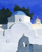 Greece Painting Originals - Three Churches on Mykonos by Marsha Elliott