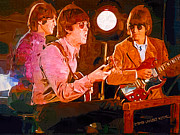 Cool Cats Paintings - Three Cool Beatles by Stephen Lawrence Mitchell