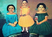 1854 Paintings - Three Coplan Sisters - Folk Art by Pg Reproductions