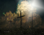 Crucify Digital Art Prints - Three Crosses and a Dove Print by Karen Slagle