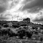 Black And White Landscape Photograph Posters - Three crosses Poster by Bernard Jaubert