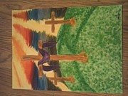 Sun Rays Paintings - Three Crosses  by Kae Mangan
