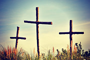 Kelly Digital Art Posters - Three Crosses Poster by Kelly Nowak