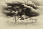 Thomas R Fletcher - Three Crosses Sepia
