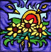 Blue Art Reliefs Prints - Three Crows and Sunflowers Print by Genevieve Esson