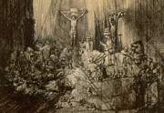 Gospel Drawings Prints - Three Crucifixes Print by Rembrandt Harmenszoon van Rijn