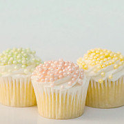 Frosting Prints - Three Cupcakes Print by Art Block Collections
