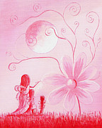 Pixie Paintings - Three Daisy Fairies by Shawna Erback by Shawna Erback