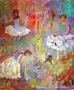 Ballet Dancers Painting Posters - Three Dancers Poster by Debbie  Downs