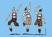 Frank Ramspott Framed Prints - Three Dancing Oktoberfest Lederhosen Men Framed Print by Frank Ramspott