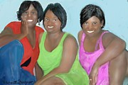 Pen Pastels Prints - Three Divas Print by Vannetta Ferguson