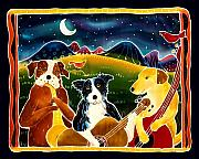 Border Painting Prints - Three Dog Night Print by Harriet Peck Taylor