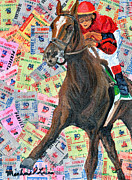 Churchill Downs Mixed Media Prints - Three Dollar Trifecta Print by Michael Lee