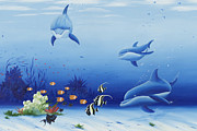 Randall Brewer Prints - Three Dolphins Print by Randall Brewer