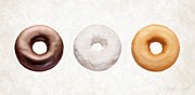 Snack Prints - Three Donuts  Print by Danny Smythe