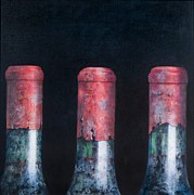 Red Wine Bottle Painting Posters - Three dusty clarets Poster by Lincoln Seligman