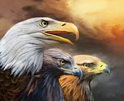 Three Eagles Print by Carol Cavalaris