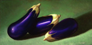 Vegetables Paintings - Three Eggplants by Frank Wilson