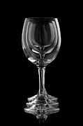 Glass Object Posters - Three elegant wine glasses in a black background Poster by Lusoimages