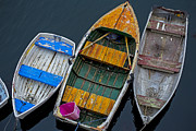 Oars Art - Three empty boats  by Garry Gay