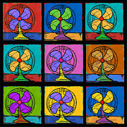 Fans Painting Metal Prints - Three Fans Squared Metal Print by Dale Moses
