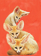 Fox Digital Art Framed Prints - Three fennec foxes Framed Print by Jane Schnetlage