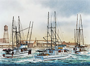 Fishing Art Cards Prints - Three Fishing Boats Print by James Williamson