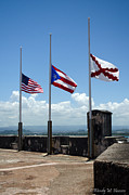Castillo San Cristobal Posters - Three Flags Poster by Wendy M Hansen-Penman