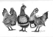 Chicken Drawings Framed Prints - Three French Hens Framed Print by J Ferwerda
