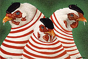 Humorous Paintings - Three French Hens... by Will Bullas