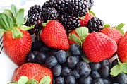 Tangy Photo Prints - Three Fruit Closeup - Strawberries - Blueberries - Blackberries Print by Barbara Griffin