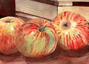 Kitchen Watercolor Paintings - Three Fuji Apples Blenda Studio by Blenda Studio