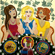 Red Wine Paintings - Three Girlfriends Celebrate by Lisa Frances Judd