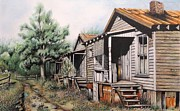 Abandoned Houses Drawings Metal Prints - Three Graces Metal Print by David Neace