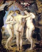 Rubens Digital Art Metal Prints - Three Graces Metal Print by Peter Paul Rubens