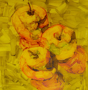Abstract Food Paintings - Three Green Apples by Patricia Awapara