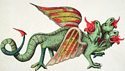 Lithograph Prints - Three Headed Dragon Spitting Fire Print by German School