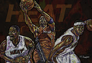 Basketball Sports Framed Prints - Three Headed Monster Framed Print by Maria Arango
