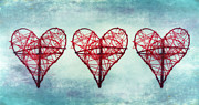 Hearts Posters - Three Hearts Poster by Kristin Kreet