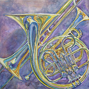 Trumpet Painting Posters - Three Horns Poster by Jenny Armitage