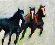 Contemporary Equine Framed Prints - Three Horses on the Diagonal Framed Print by Frances Marino