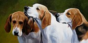 Foxhound Framed Prints - Three Hounds Framed Print by Janet  Crawford