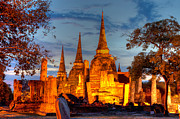 Ayuthaya Prints - Three illuminated pagodas at Wat Phra Si Sanphet Ayutthaya Tha Print by Fototrav Print